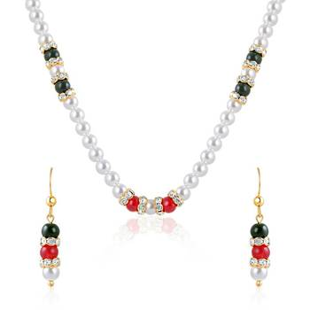 Oviya Gold Plated Opulent Fusion Pendant set with Pearl Stone