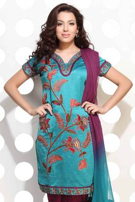 Gorgeous Blue Handloom Silk embroidered suit