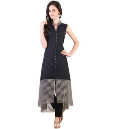 Buy Black georgette plain stitched kurti long-kurti online