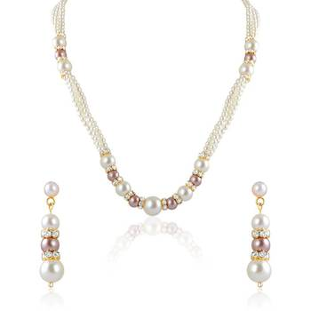 Oviya Gold Plated Strings of Love Pendant set with Pearl