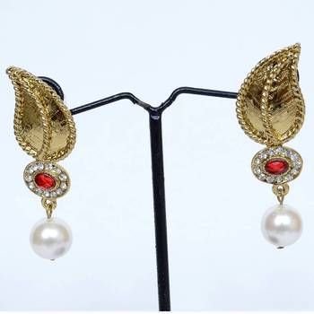 Gold Leaf With Red Stone & Pearl Drop Danglers