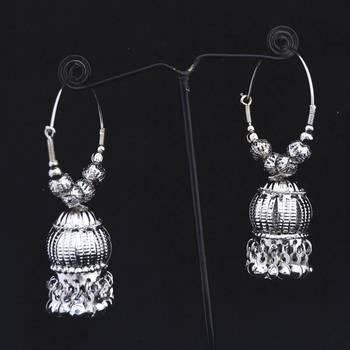 Silver Balis With Jhumkas