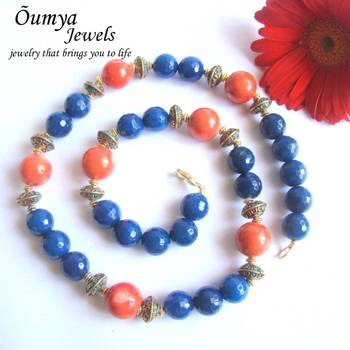 Blue and Coral Semiprecious Mala