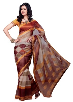 Triveni Classy Checkered Patterned Supernet Indian Designer Saree TSVF9701