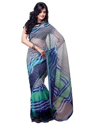 Triveni Pretty Waves Patterned Supernet Printed Indian Designer Saree TSVF9707