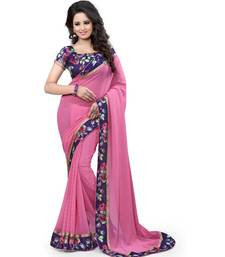 Buy Pink plain georgette saree with blouse Woman online