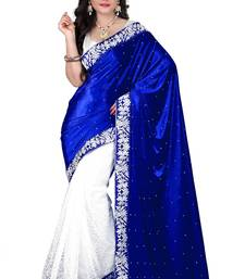 Buy Blue embroidered velvet saree with blouse below-500 online