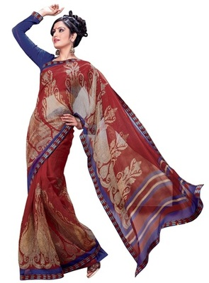 Triveni Elegant Traditional Printed Casual Wear Indian Designer Saree TSVF9731