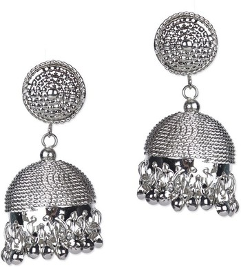 Silver Elegant Designer Jhumka Earrings For Womens