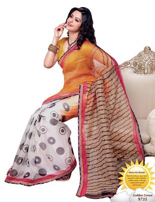 Triveni Stylish Circle Patterned Supernet 3Indian Designer Saree TSVF9735