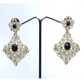 Black Kundan Type Diamond Shaped Fashion Dangler