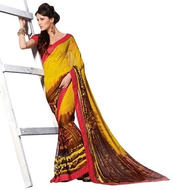 Triveni Stylish Sleek Bordered Printed Georgette Indian Ethnic Designed Saree TSVF9915