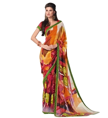 Triveni Chic&Colorful Abstract Patterned Printed Indian Ethnic Designed Saree TSVF9918