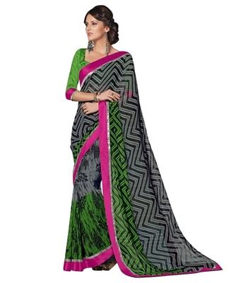 Triveni Attractive Zigzag Patterned Georgette Indian Ethnic Designed Saree TSVF9919