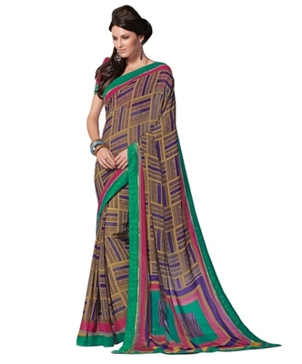 Triveni Admirable Geometrical Pattern Georgette Indian Ethnic Designed Saree TSVF9923