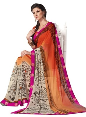 Triveni Divine Traditional Print Faux Georgette Indian Ethnic Designed Saree TSVF9928