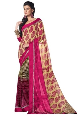 Triveni Appreciable Floral Print Faux Georgette Indian Ethnic Designed Saree TSVF9932