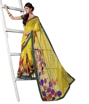 Triveni Eyecatchy Foliage Patterned Georgette Indian Ethnic Designed Saree TSVF9938