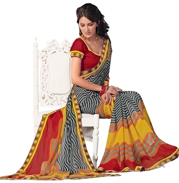 Triveni Remarkable Waves Pattern Faux Georgette Indian Ethnic Designed Saree TSVF9940
