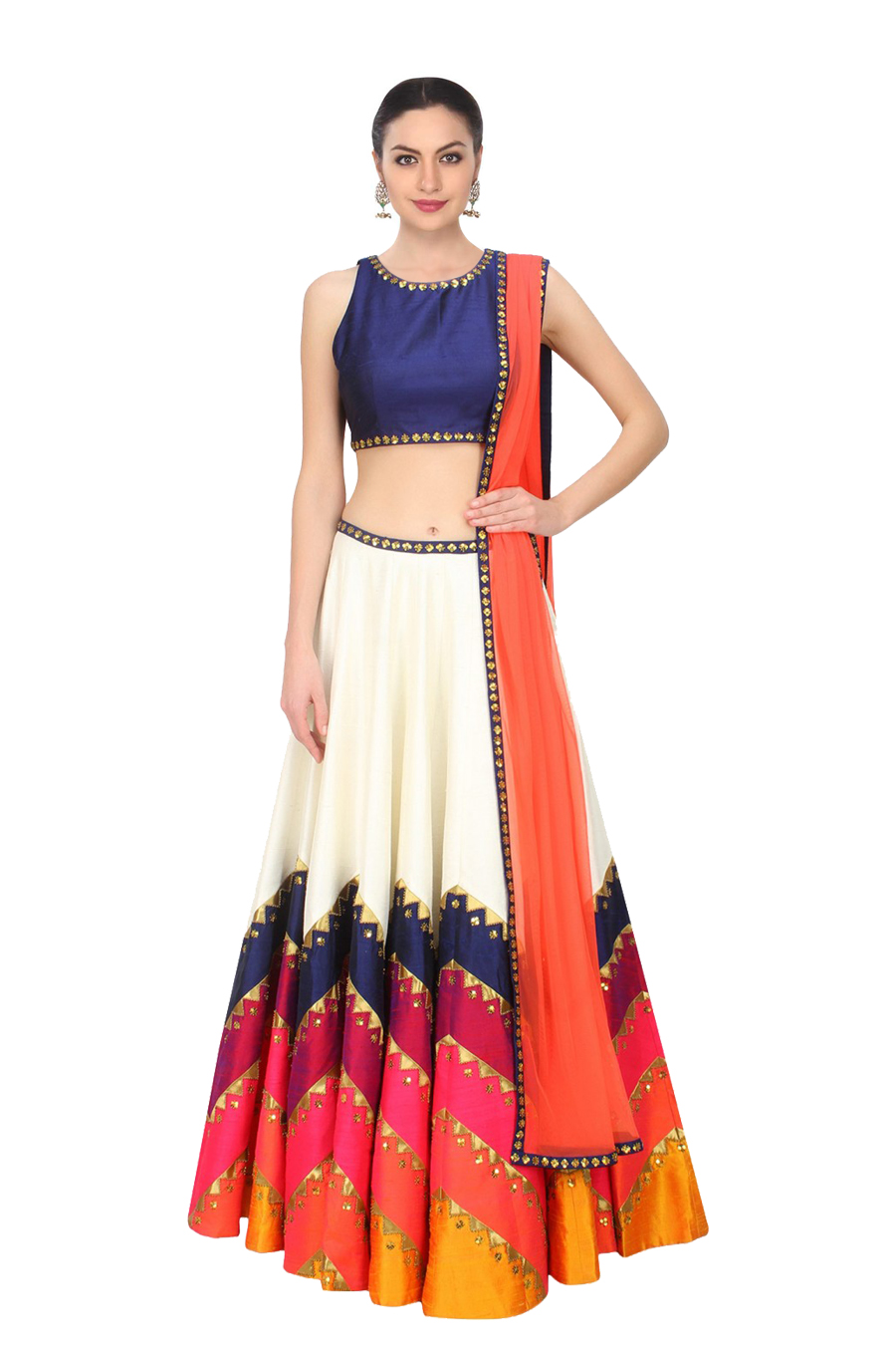 51d8e49b0fe white bhagalpuri silk embroidered unstitched lehenga choli - Fabdiwa Fashion  - 1493580