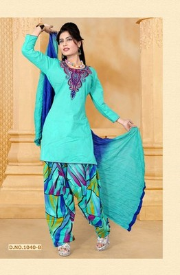 NeelFab Sky Blue cotton stitched  Salwar Suit:1040-B