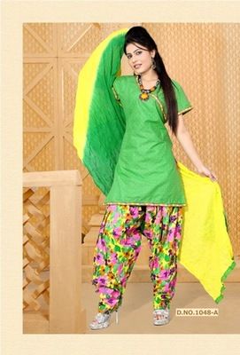 NeelFab Green cotton stitched  Salwar Suit:1048-A