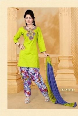 NeelFab Mehandi cotton stitched  Salwar Suit:1049-A