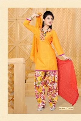NeelFab Orange cotton stitched  Salwar Suit:1050-A