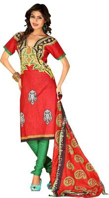 Riti Riwaz red cotton printed dress material with dupatta RM1025