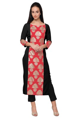Red faux crepe plain kurti