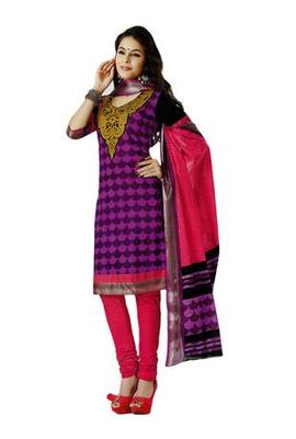 Salwar Studio Pink & Black Cotton unstitched churidar kameez with dupatta AR-1202