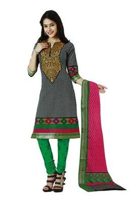 Salwar Studio Black & Green Cotton unstitched churidar kameez with dupatta AR-1208