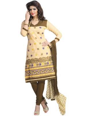 Salwar Studio Fawn & Beige Cotton unstitched churidar kameez with dupatta ES-9068