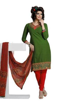 Salwar Studio Green & Red Cotton unstitched churidar kameez with dupatta ES-9085
