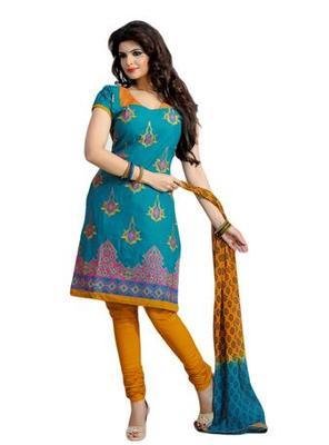 Salwar Studio Sky Blue & Mustard Cotton unstitched churidar kameez with dupatta ES-9088