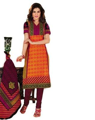 Salwar Studio Orange & Pink Cotton unstitched churidar kameez with dupatta KO-4505
