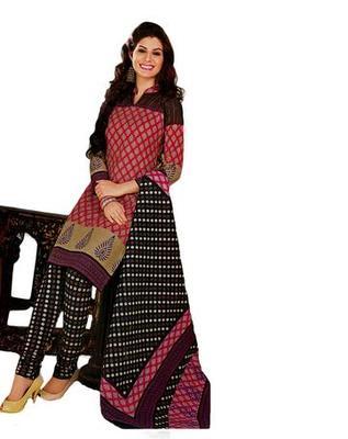 Salwar Studio Pink & Black Cotton unstitched churidar kameez with dupatta KO-4519