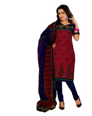 Salwar Studio Maroon & Blue Cotton unstitched churidar kameez with dupatta KO-4520
