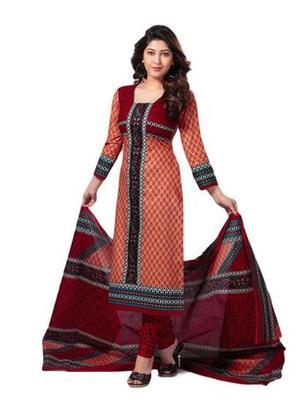 Salwar Studio Peach & Maroon Cotton unstitched churidar kameez with dupatta S-411