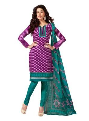Salwar Studio Pink & Aqua Blue Cotton unstitched churidar kameez with dupatta S-412