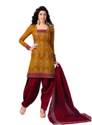 Salwar Studio Mustard & Red Cotton unstitched churidar kameez with dupatta S-416