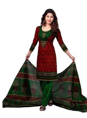 Salwar Studio Red & Green Cotton unstitched churidar kameez with dupatta S-417