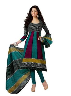 Salwar Studio Multi Cotton unstitched churidar kameez with dupatta S-428