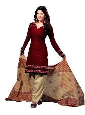 Salwar Studio Red & Fawn Cotton unstitched churidar kameez with dupatta S-436
