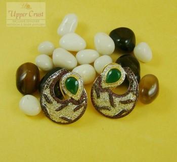 Designer Rare Huge Stud Bali Style CZ Zircone Earrings