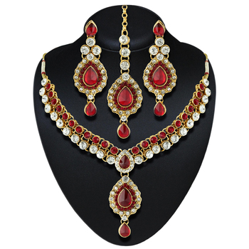 Wedding Wear Red Austrian Stone Gold Finishing Necklace Set With Maang Tikka