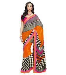 Buy Vishal Orange+Black Georgette Art Silk Saree  VIctorianMirage31236 georgette-saree online