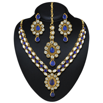 Attractive Design Gold Finishing Blue Austrian Stone Necklace Set With Maang Tikka