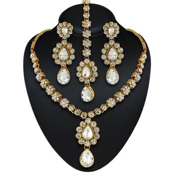 Gracefull Design Austrian Stone Gold Finishing Necklace Set with Maang Tikka