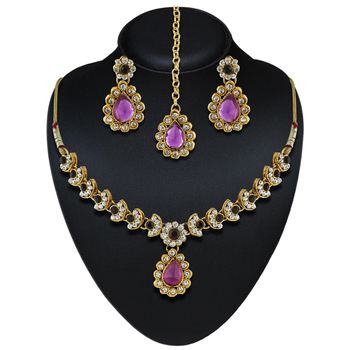 Exclusive Design Purple Austrian Stone Gold Finishing Necklace Set With Maang Tikka